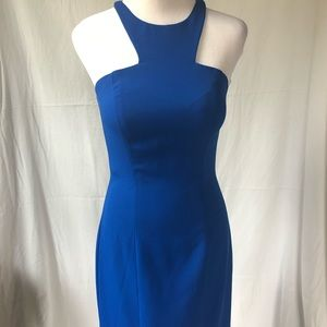 Jovani Royal Blue Grecian Neckline Dress